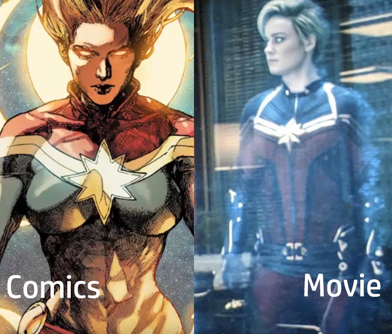 comics captain marvel vs endgame movie captain marvel